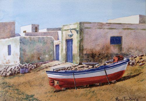TCUMFL1025, Barca en La Graciosa, 38X27, 080710-R