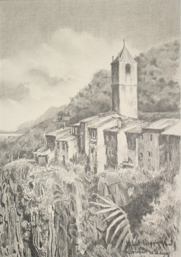 castellfollit de la roca gerona dibujo a l225piz plomo