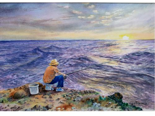 157 TCUMFL1610, Pesca al amanecer, 56X39, 20160815 (1)-R